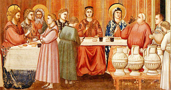 detail from Marriage at Cana by Giotto, 14th century