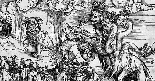 detail from The Revelation of St John: 12. The Sea Monster and the Beast with the Lamb's Horn, by Albrecht Dürer, 1497-1498.