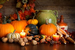 Festive autumn variety of gourds and pumpkins with wood background