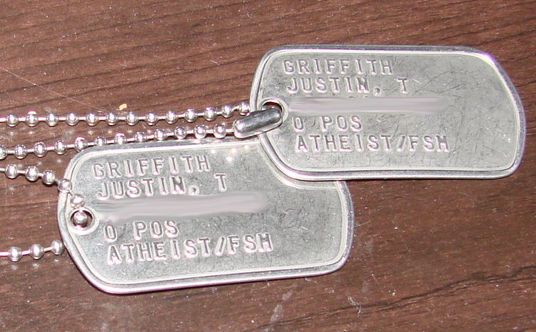 SGT Griffith - foxhole atheist - dogtags