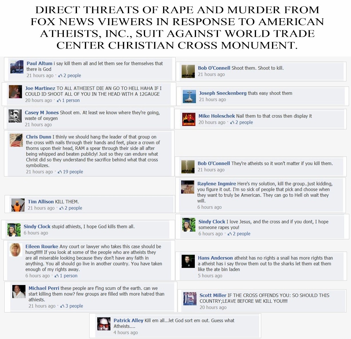 Threats of Rape and Murder of American Atheists from Fox News viewers