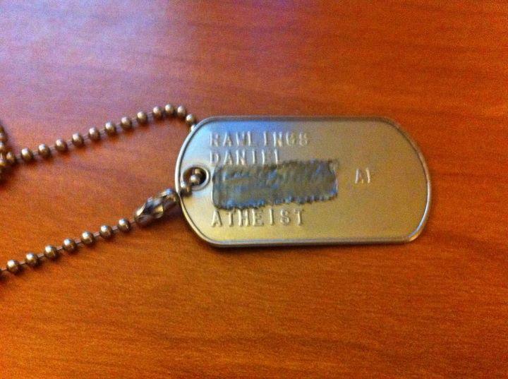 Air Force Atheist dog tags, Dan Rawlings