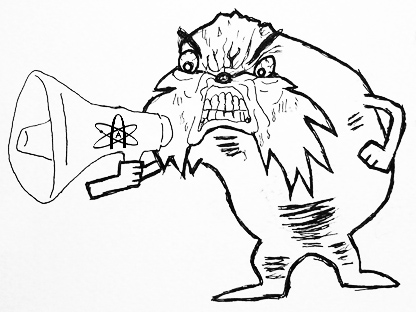 rage face lorax with a megaphone - Be like this guy, internet atheists.
