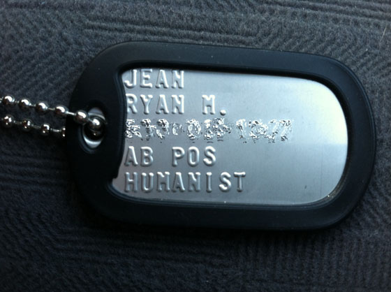 Atheist in foxhole, Army CPT Ryan Jean humanist dog tags