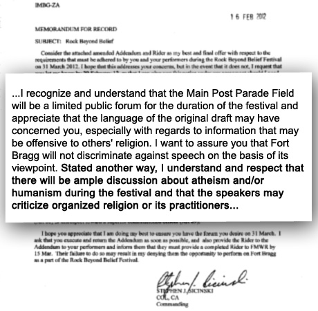 Colonel Sicinski promises to protect statements critical of organized religion at Rock Beyond Belief