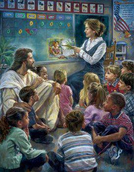 original Jesus in a classroom reading Twas the night before Christmas