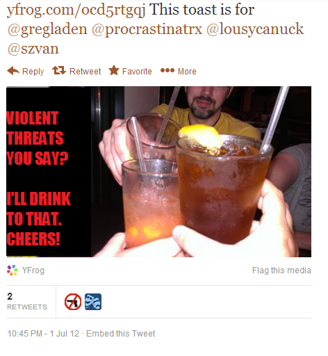 greg ladens violent threats, ill drink to that