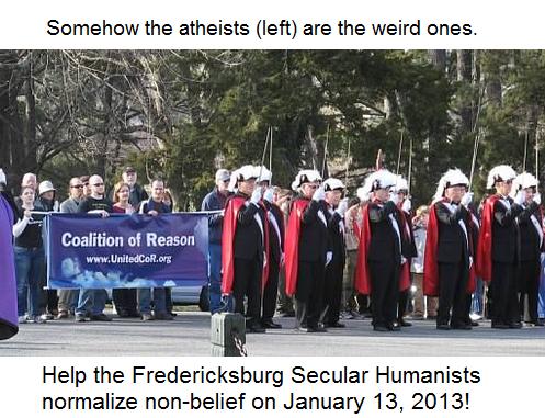 Fredericksburg Secular Humanists march behind knights of columbus weirdos