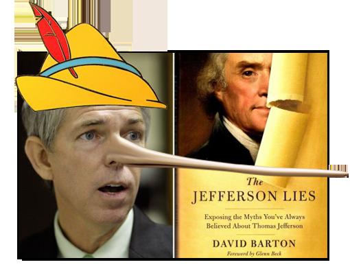 David Barton the Jefferson Lies fixed: pinocchio liar nose and hat