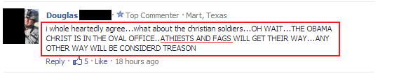 foxnews comment - atheists and fags will get their way