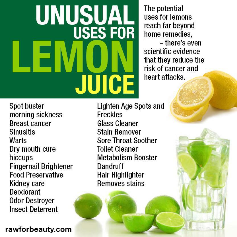 from raw for beauty, shitty infogrpahic about unusual uses for lemon juice