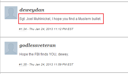 nbc comment - sgt joel muhlnickel I hope you find a muslim bullet