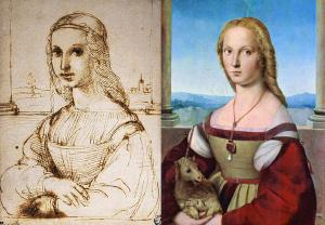 sketch and finished painting of a Girl with a Unicorn by Raphael