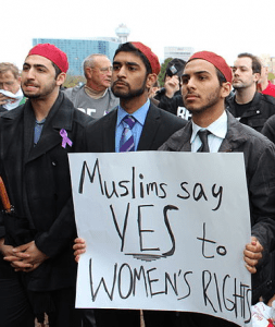 Muslim men supporting women's rights