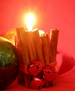 Cinnamon stick candle holder photo by Lilith Dorsey. All rights reserved.