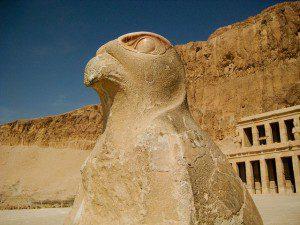 Hawk outside temple of Hatshepsut. Photo by Mohd Tarmizi. Licensed under CC 2.o