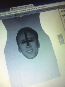 Satan Nic Cage T-shirt listing photo. Photo by Lilith Dorsey.