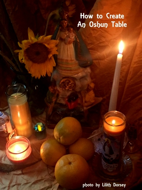 Altar or Shrine Table for the Orisha Oshun. Honored on September 8th. Photo by Lilith Dorsey, all rights reserved.
