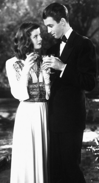 Katherine Hepburn and Jimmy Stewart in The Philadelphia Story. Licensed under wikimedia commons.