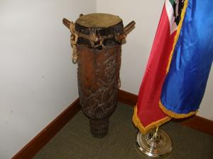 Haitian drum and flag photo by Lilith Dorsey. All rights reserved.
