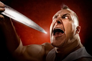 Angry man with knife