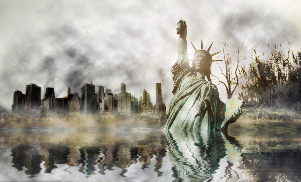 Apocalyse in New york. Fantasy concept about apocalyptic scenario
