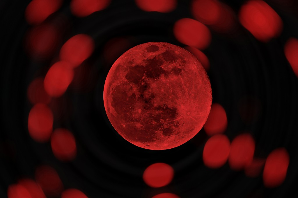 red Halloween moon or blood moon