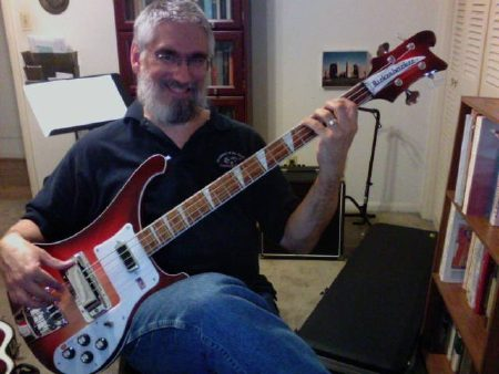 Middle aged guy meets awesome bass guitar