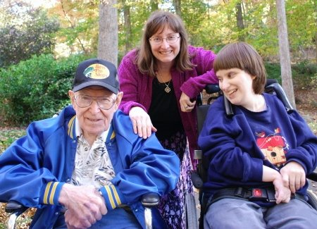 Dad, Fran and Rhiannon at the Georgia Botanical Gardens, Athens, GA, November 2008. Just a few months later his dementia had worsened to the point where we could no longer take him out and about.
