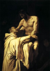 """Christ Embracing Saint Bernard"" by Francisco Ribalta (1565-1628). Public domain."