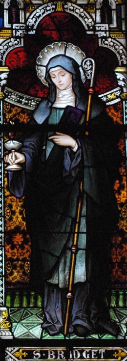 St. Brigid of Kildare Stained Glass (photo by Fran McColman), St. Joseph's Catholic Church, Macon, GA.