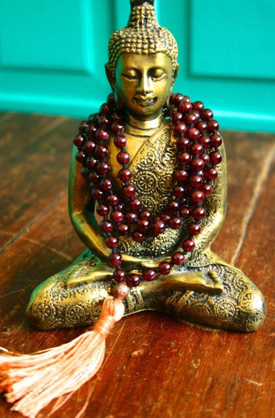 Beautiful garnet and copper japa mala by Bija Malas