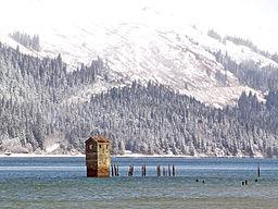 Gastineau Pumphouse in Winter, by Gillfoto, Wikimedia Commons.