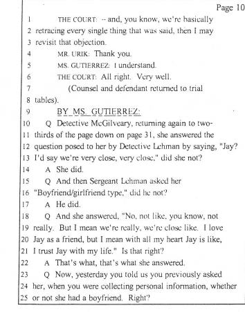 Gutierrez cross examining Det. McGilvery about his interview with Jenn