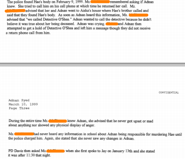 Stephanie's statement from March, 1999. Last name redacted.