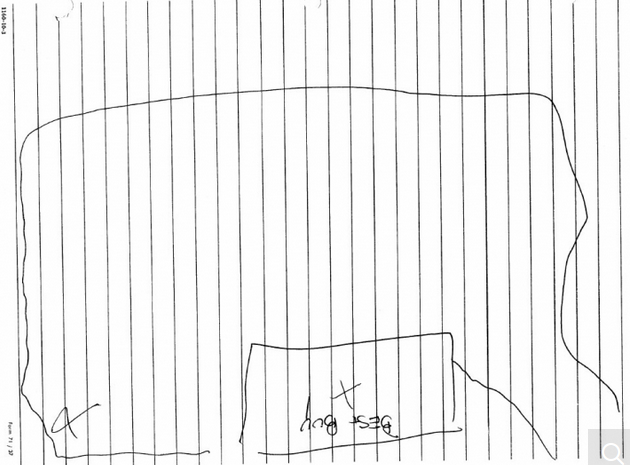 Ja'uan's hand-drawn map of where he smoked pot with Adnan