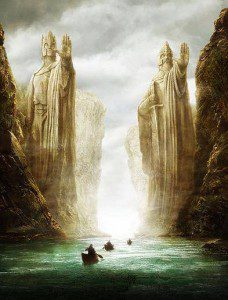 The Argonath of Lord of the Rings, forbidding and holding back