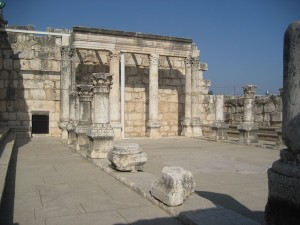 My photo of the synagogue at Capernaum, similar to the one in Nazareth where Jesus reads Isaiah 61.