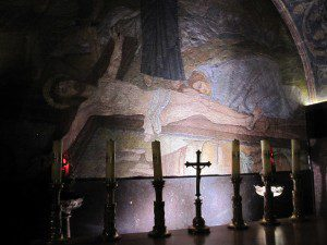 Holy Sepulchre depiction of Jesus' body in the tomb. My pic.