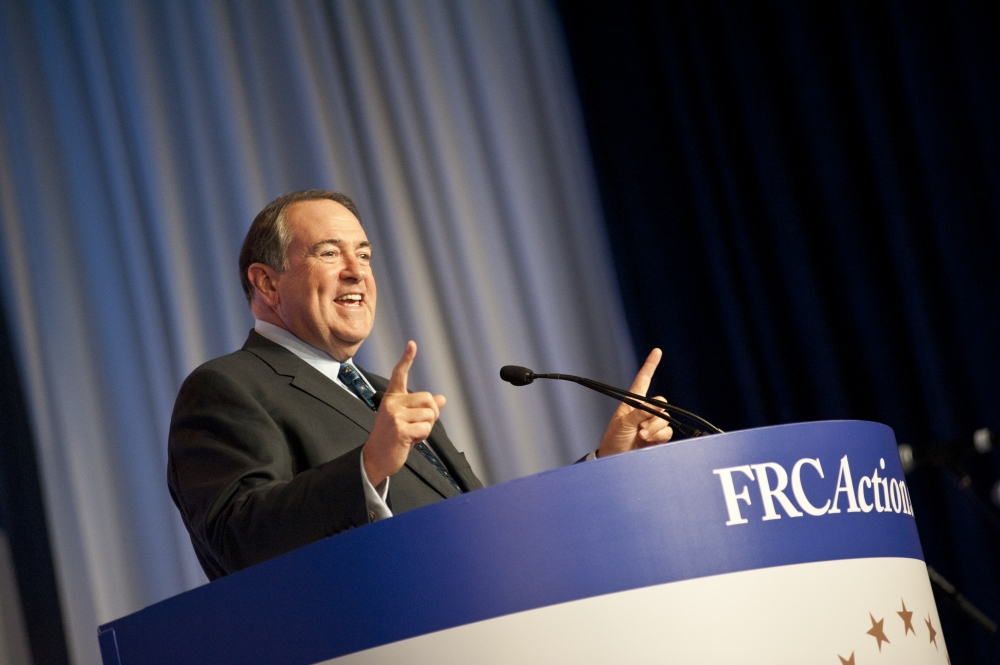Mike Huckabee speaking at the 2014 Values Voters Summit
