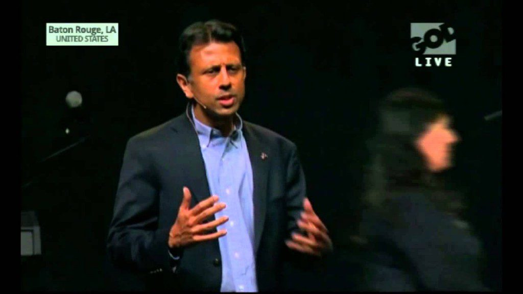 "Louisiana Gov. Bobby Jindal speaking at Saturday's ""The Response"" prayer rally"