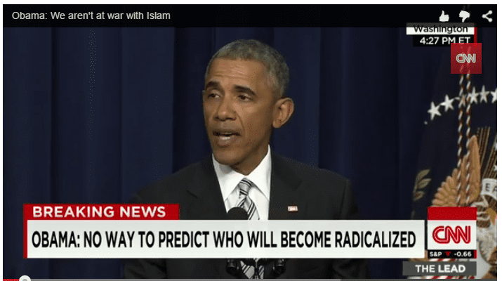 Obama proclaims: 'We are not at war with Islam' (screen-grab)