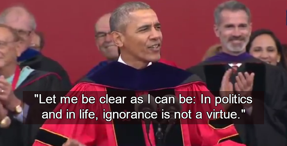 Obama Mocks Trump's Anti-Intellectualism