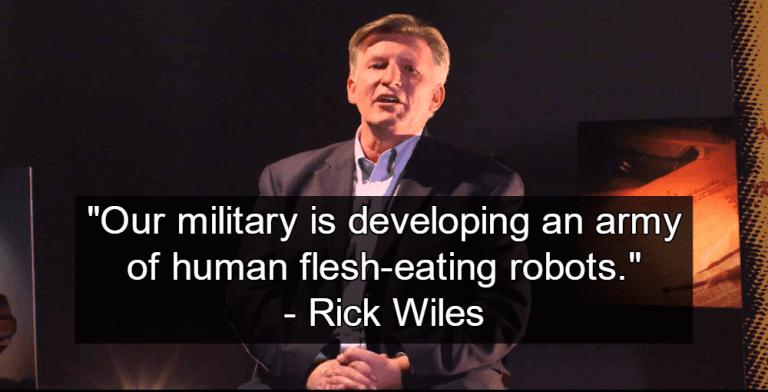 "Rick Wiles warns of ""flesh-eating robots"" (Image via YouTube)"