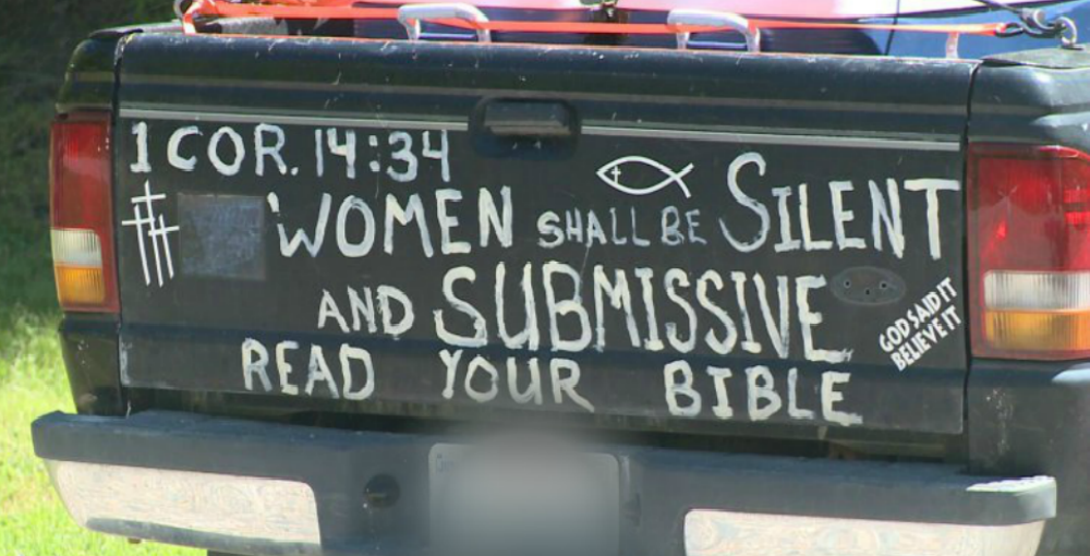 Bible Verse On Truck (Image via Screen Grab)