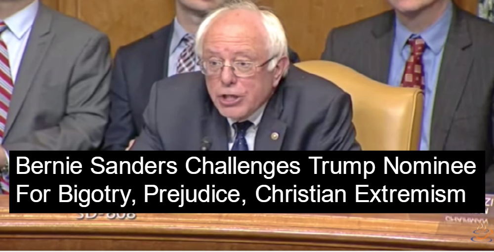 Bernie Sanders Blasts Trump Nominee For Being A Christian Extremist (Image via Screen Grab)
