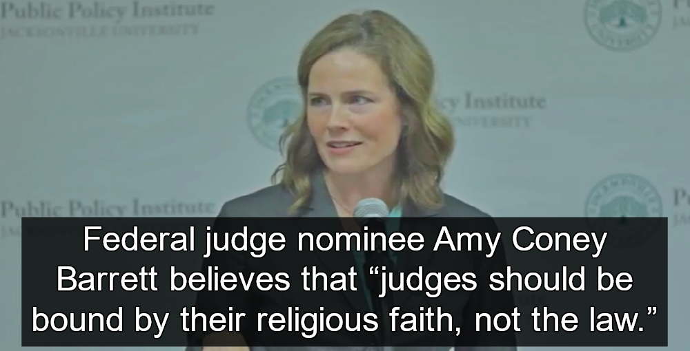 Federal Judge Nominee Amy Coney Barrett Claims Bible Precedes Constitution (Image via Screen Grab)