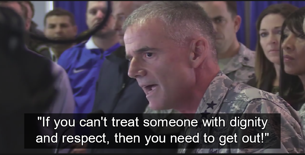 """Lt. Gen. Jay Silveria, superintendent of the U.S. Air Force Academy, tells racist white nationalists to """"Get out!"""" (Image via Screen Grab)"""