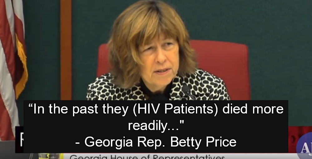 Georgia Rep. Betty Price Suggests HIV Patients Be Quarantined (Image via Screen Grab)