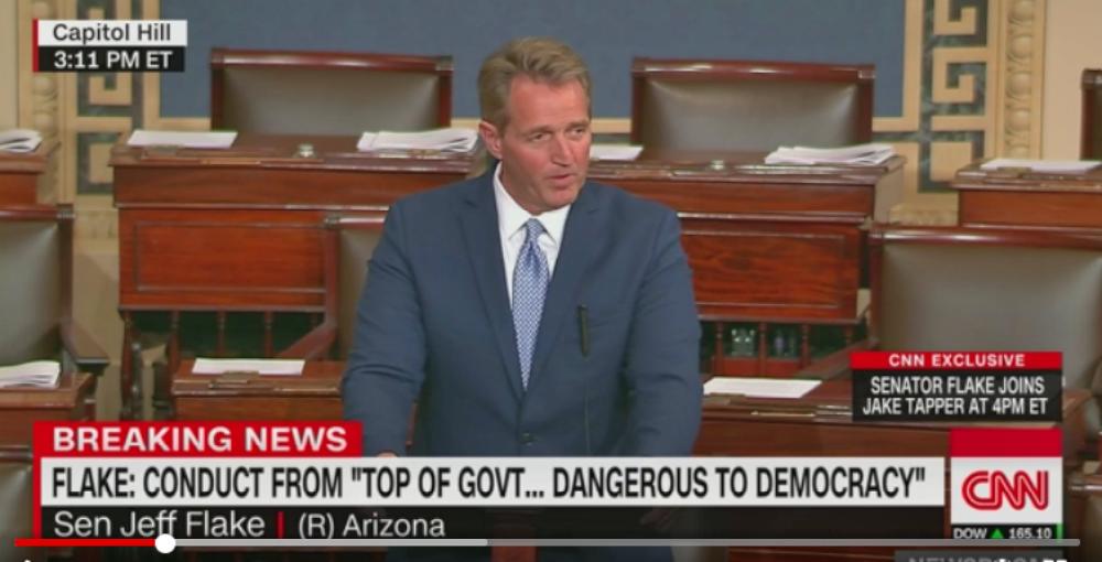 Senator Flake Rebukes Trump For 'Flagrant Disregard of Truth and Decency' (Image via Screen Grab)